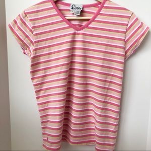 3 FOR $40 • Lilly Pulitzer Pink Striped V-Neck Tee